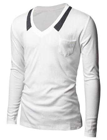 Doublju Mens V-neck T-shrits with Chest Pocket WHITE (US-XS)