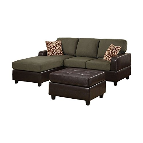 Bobkona manhattan reversible microfiber 3 piece sectional for Microfiber faux leather 3 piece sectional sofa set