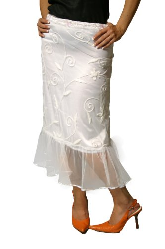 White Tiered Pencil Skirt