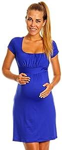 Happy Mama Maternity. Vestido premamá manga corta cuello cuadrado. 081p