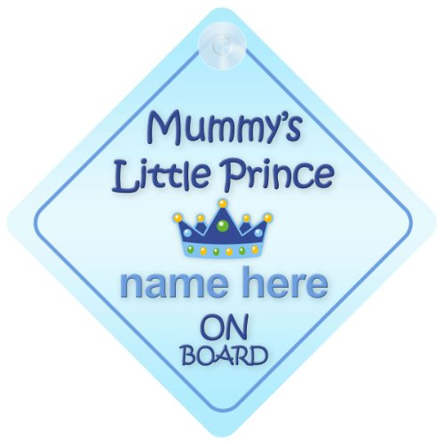 Mummy's Little Prince On Board Personalised Car Sign New Baby Boy / Child Gift / Present By Mybabyonboard Uk
