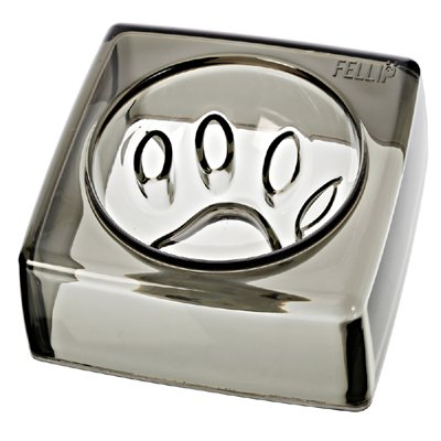 "(Felli-Pet,Designer Pet Bowls)Good Manners 5.5"" Kristal Dog Bowl (Smoky Quartz)"