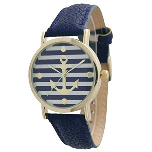 HITOP Vintage Retro Damen Armbanduhr Basel-Stil geometrischen Streifen Anker Leather Quarz uhr Lederarmband Uhr Top Watch