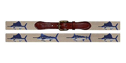 Smathers & Branson Bill Fish (Khaki) Needlepoint Belt, Size 36 (B-067-36) back-1013346