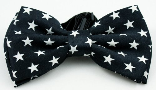 "Brand New Awesome Silk Feel ""Star Black"" Men'S Tuxedo Bow Tie"