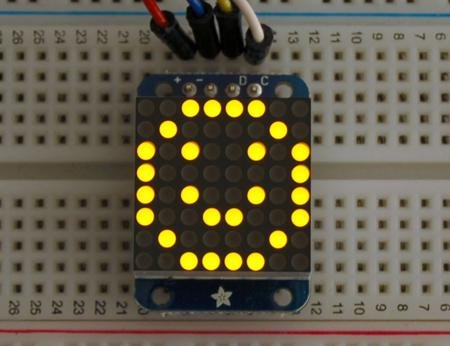 Mini 8X8 Yellow Led Matrix With I2C Backpack
