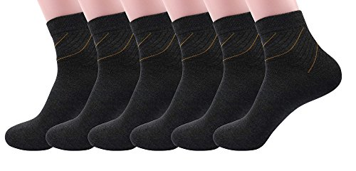 Silkworld Men'S Cotton Dress Ankle Socks Pack Of 6 Dark Gray