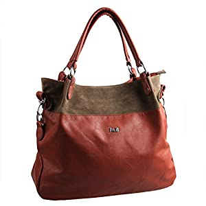 EcoCity Women's Classic Fashion Tote Handbag Leather Shoulder Bag Perfect Large Tote Handbag Purse with Shoulder Strap (Brown)