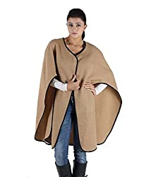 Owncraft Women's Woolen Capes (Own_346_Beige_Large)