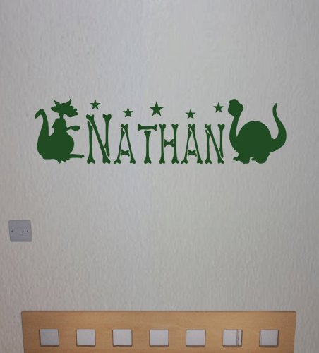 Personalised Dinosaur Wall Sticker, Any Name, Any Colour, Childs Bedroom.