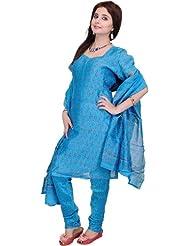 Exotic India Azure-Blue Chanderi Choodidaar Salwar Suit With Block- - Azure Blue