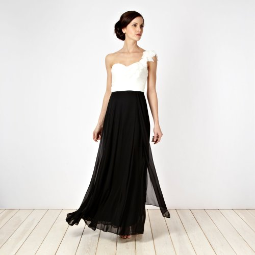 Debut Black Appliqued Petal One-Shoulder Maxi Dress picture