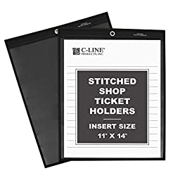 C-Line Stitched Shop Ticket Holders with Black Pressboard Back, One Side Clear, 11 x 14 Inches, 25 per Box (45114)
