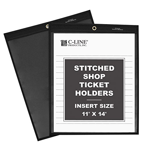 C-Line Stitched Shop Ticket Holders with Black Pressboard Back, One Side Clear, 11 x 14 Inches, 25 per Box (45114) (Prime Ticket compare prices)