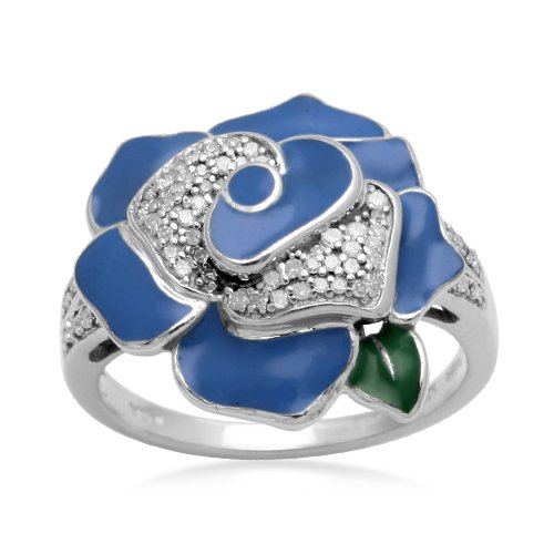 Sterling Silver Light Blue Enamel Flower Diamond Ring (1/6 cttw, I-J Color, I2-I3 Clarity), Size 5