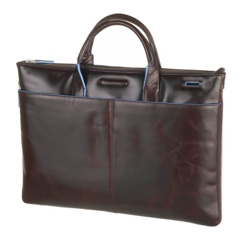 Piquadro Leather Portfolio Briefcase - Dark Brown