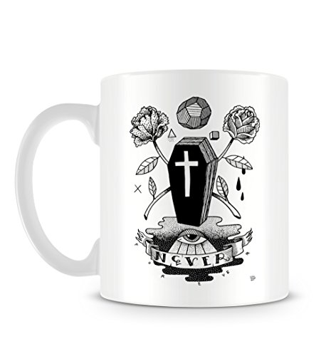 Coffin Eye Death Roses Black and White Illustration Tattoo Style Tazza