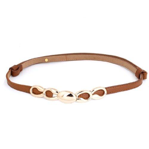 Ladies Gold Tone Interlocking Buckle Faux Leather Adjustable Waistband Belt