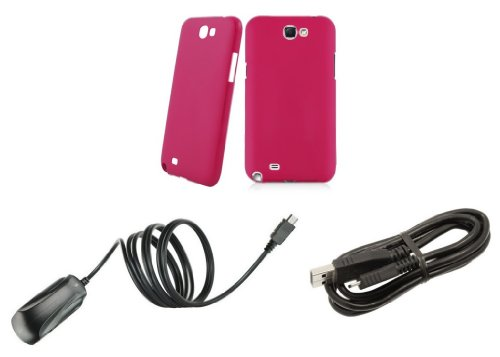 Samsung Galaxy Note Ii - Accessory Kit - Magenta Pink Slim Fit Back Cover Case + Atom Led Keychain Light + Micro Usb Cable + Wall Charger
