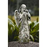 Roman Garden Collection Resin Angel Standing Wearing a Gown Embossed with Hummingbirds Garden Statue, 19-Inch