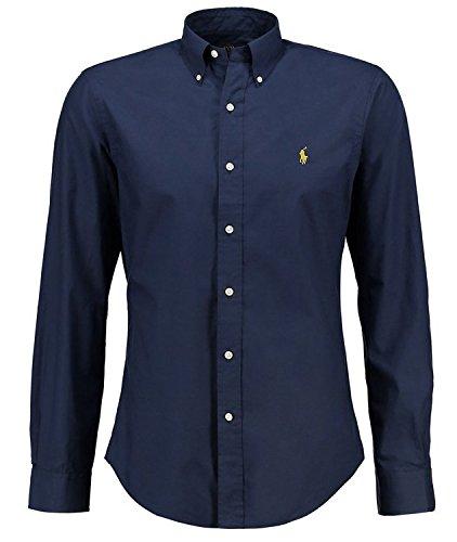 chemise-ralph-lauren-homme-couleur-bleu-fonce-logo-jaune-coupe-slim-fit-ajustee-manches-longues-100-