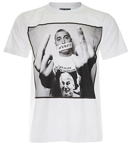 (Pallas) Eminem Hip Hop T-Shirt (Pa018) (White , L)
