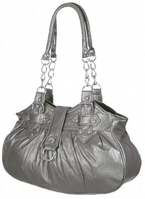 EyeCatchBags - Huron Damen Schultertasche / Handtasche aus Kunstleder Pewter