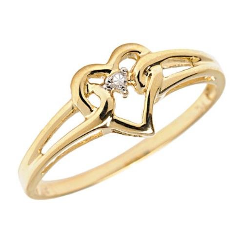 14K Gold Secure Heart Diamond April Birthstone Ring