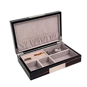 Lacquer Jewelry Box Tarnish Proof, Ebony Burl Wood
