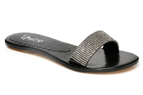 Image of Unze Women Wide Panel Diamante Crystal Open-Toe Summer Party,Evening,Wedding Slipper - Cap003 (B004NS1PUO)