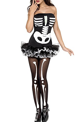 Rekais Women's Fever Skeleton Halloween Costume