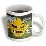 3dRose mug_93355_2 Ohio, Caution, Horse Drawn Buggy's, Farm-Us36 Bth0001-Brenda Tharp Ceramic Mug, 15-Ounce