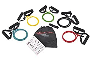 ProSource Premium Double Dipped Latex Resistance Bands (Set of 5) with Door Anchor, Carrying Case, and Exercise Chart