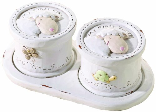 "Lillian Rose Keepsake Tooth And Curl Box, Little Lamb, 5.5"" X 1.75"""