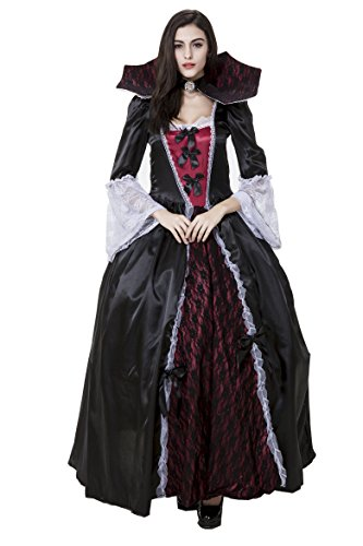 Gothic Punk Rock Vampire Queen Ghost Bride Halloween Cosplay Costumes Dress