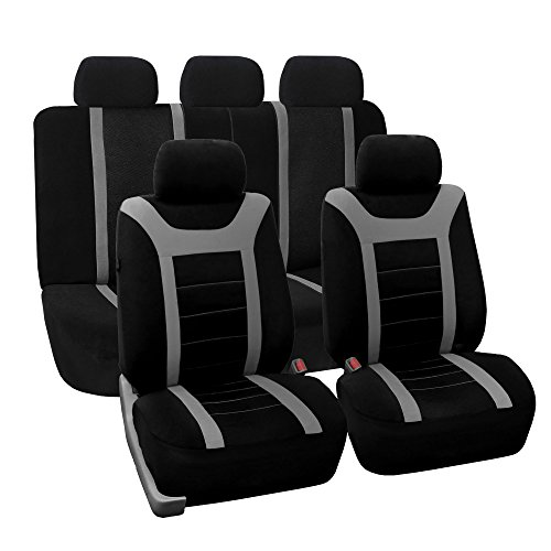 FH GROUP FH-FB070115+FH2033 Sports Fabric Car Seat Covers, Airbag compatible and Split Bench with Steering Wheel Cover, Seat Belt Pads Gray- Fit Most Car, Truck, Suv, or Van (Dodge Ram 1500 Seat Covers 2004 compare prices)