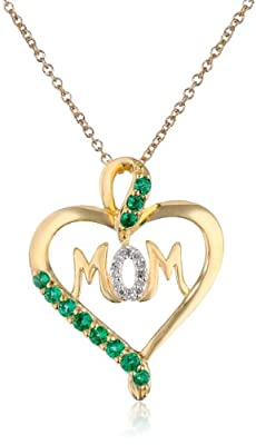 Sterling Silver with 14k Gold Plating Created Gemstone and Diamond Mom Heart Pendant Necklace, 18""