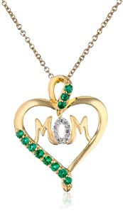 """Sterling Silver with 14k Yellow Gold Plating Created Emerald and Diamond Mom Heart Pendant Necklace, 18"""""""