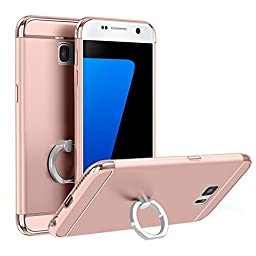 Samsung Galaxy S7 Electroplating Loop Grip Case-Aurora Rose Gold 3 Pieces Sleek Full Body Case Samsung Galaxy S7 [Top+Body+Bottom] with 360 Degree Ring Stand[Convenient+Useful+Stylish]