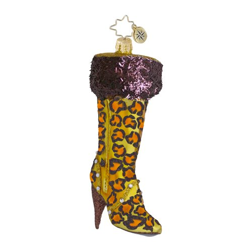 RADKO VERY BEST BOOTS Ladies Shoe Leopard Skin Christmas Glass Ornament