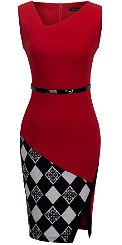 HOMEYEE-Womens-Elegant-Patchwork-Sheath-Sleeveless-Business-Dress-B290