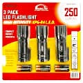 Techlite Lumen Master 250-Lumens High-Intensity CREE XPG-R4 LED Tactical Flashlight (3-Pack)