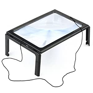 FiveJoy® Hands-Free Page Magnifier for Reading with LED Lights - Powerful 3X Magnification - Has Flip Out Legs That Can Stand over Document - Comes with Neck Cord to Hang It around Neck - Lightweight, Compact, Portable - Ideal For Reading Small Prints (M