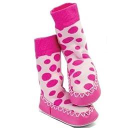 12-18 Months Pink Spot Mocc Ons Slipper Socks