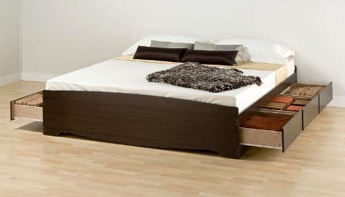 Espresso Finish King Size Platform Storage Bed