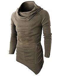 H2H Mens Casual Turtleneck Slim Fit Pullover Sweater Oblique Line Bottom Edge BEIGE US L/Asia XL (KMTTL046)