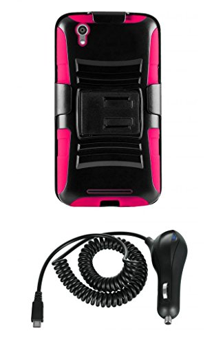 Zte Zmax Z970 (T-Mobile) - Black And Hot Pink Impact Armor Kickstand Hybrid Cover Case + Locking Swivel Belt Clip Holster + Atom Led Keychain Light + 2.1A (2100 Mah Output) Rapid Micro Usb Car Charger