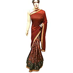 Brown Designer Lycra With Brosso With Embroidered lehenga Saree.