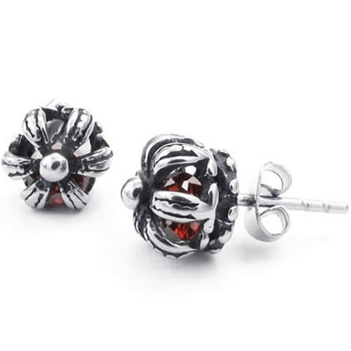 Konov Jewelry Mens Womens Cubic Zirconia Stainless Steel Vintage Crown Stud Earrings, Red Silver