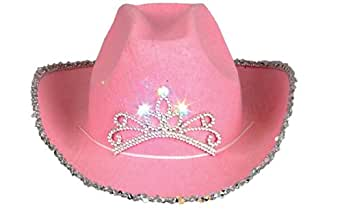 Rhode Island Novelty Child Pink Blinking Tiara Cowboy Hat